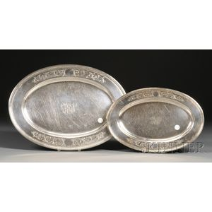 Set of Two S. Kirk & Son Sterling Oval Platters