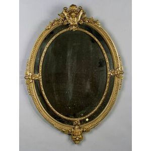 Neoclassical-style Giltwood and Composition Oval Mirror