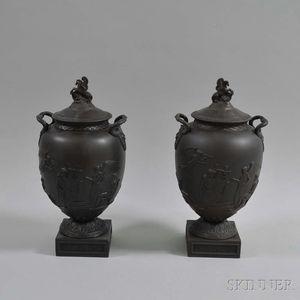 Pair of Modern Wedgwood Black Basalt Homeric Vases