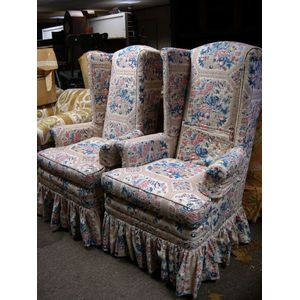 Pair of Federal-style Floral Chintz Upholstered Mahogany Easy Chairs.