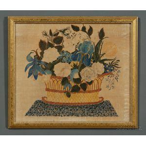 American School, 19th Century      A Theorem: Still Life of a Basket of Flowers.