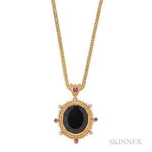 "22kt and 18kt Gold and Black Tourmaline ""Classic Collection"" Pendant, Zaffiro"