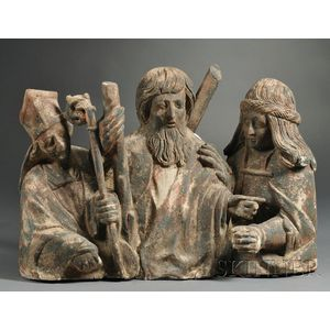 Polychrome Carved Wood Figural Group