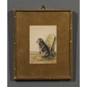 American School, 19th Century Presentation Portrait of a Dog to Pewterer Roswell Gleason (1799-1877) of Dorchester Massachusetts. Unsig