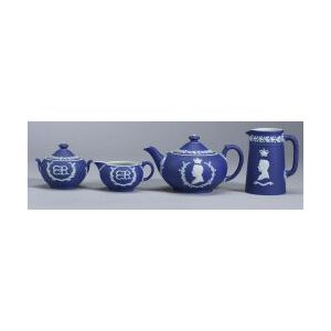 Wedgwood Four-piece Edward VIII Dark Blue Jasper Dip Tea Set