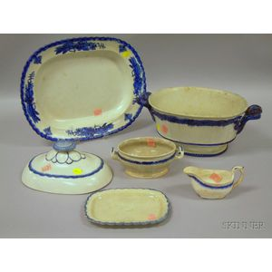 Leeds Blue Feather-edge Open Tureen, Embossed Deep Platter, a Small Tureen, a   Sauceboat, Small Tray, and a Lid