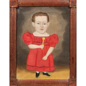 Erastus Salisbury Field (Massachusetts/New York, c. 1805-1900)      Portrait of a Dwarfed Boy in a Red Dress Holding a Rattle