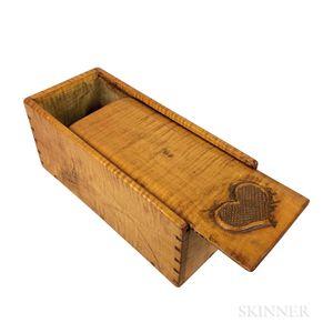 Heart-carved Tiger Maple Slide-lid Box