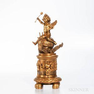 French 19th Century Gilt-bronze Annular Clock