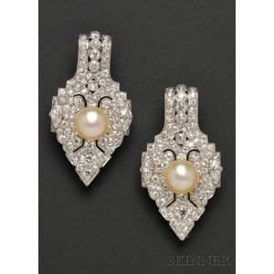 Pair of Platinum, Diamond, and Pearl Brooches