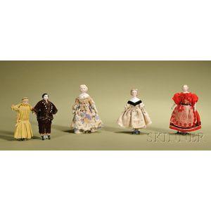 Five Dollhouse Doll Children