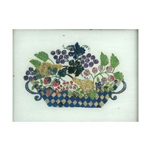 American School, 19th Century  Tinsel Picture of a Basket of Fruit.