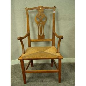 Country Chippendale Birch Armchair.