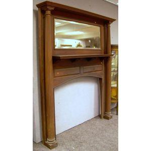Victorian Maple Mirrored Fireplace Surround