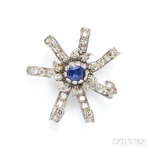 Platinum, Sapphire, and Diamond Brooch