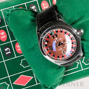 Corum Bubble Casino Roulette Watch, Switzerland, c. 2003, polished stainless steel case, bubble sapphire crystal and see-through back,