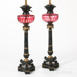 Pair of Gothic Revival Gilt- and Patinated-bronze Banquet Lamps
