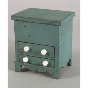 Miniature Painted Pine Chest-over-Drawer