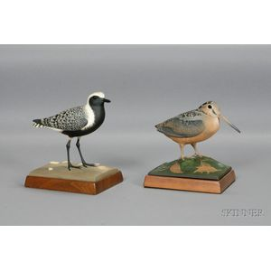 Carved and Painted American Woodcock and Black-Bellied Plover
