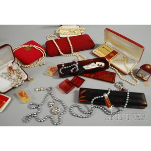Large Group of Majorica Pearl Costume Jewelry