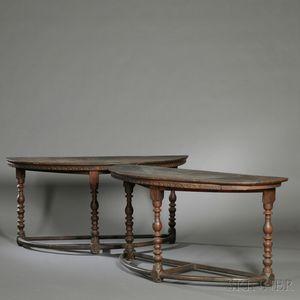 Pair of Italian Renaissance Demilune Walnut Console Tables