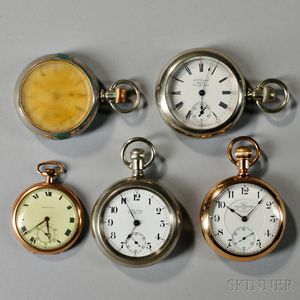 "Ball (Hamilton) Railroad Standard ""999"" and Four Other Open-face Watches"
