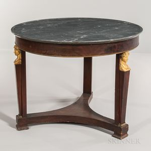 Neoclassical-style Mahogany-veneered Marble-top Center Table