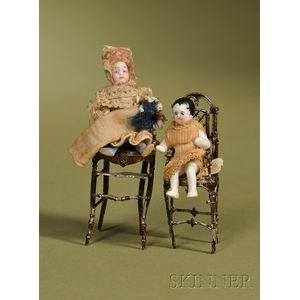 Two Small Babies in Soft Metal High Chairs