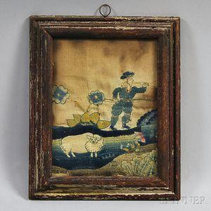 Framed Early Needlework Fragment