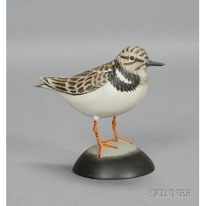Carved and Painted Ruddy Turnstone Bird Figure in Winter Plumage