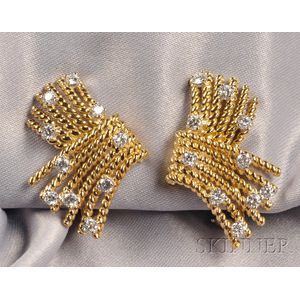 """18kt Gold and Diamond """"V-Rope"""" Earclips, Schlumberger, Tiffany & Co."""