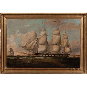 American School, 19th Century      Portrait of the Three-masted Vessel Maine