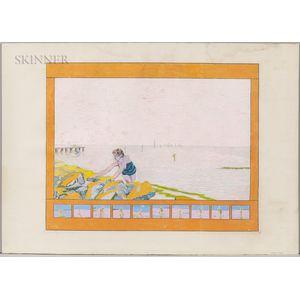 Graham Nickson (British, b. 1946)      Study of Large Bather Painting