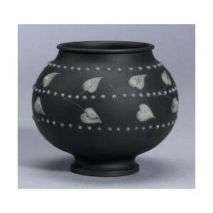 Wedgwood White Slip Decorated Solid Black Jasper Vase