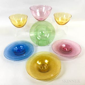 Six Cowdy Glass Workshop Plates and Three Bowls