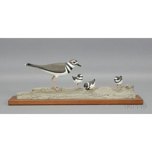 "Carved and Painted Wooden ""Killdeer Family,"""
