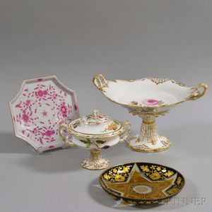 Four German Porcelain and Glass Items