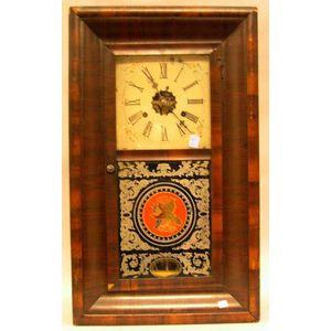 E.N. Welch Mfg. Co. Rosewood Veneer Ogee Mantel Clock