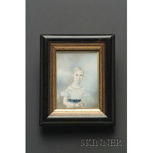 Portrait Miniature of a Girl in White Dress with a Blue Belt