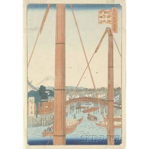 Hiroshige: Inari Bridge and Minato Shrine, Teppozu