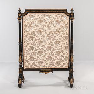 Louis XVI-style Ormolu-mounted Ebonized Wood Fire Screen
