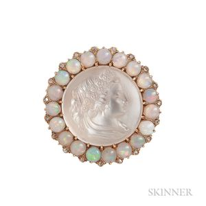 Antique Gold, Moonstone Cameo, Opal, and Diamond Pendant/Brooch