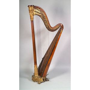 English Regency Giltwood and Paint Decorated Fruitwood Standing Harp