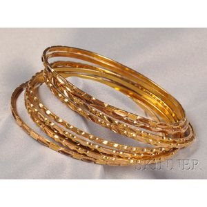 Group of 18kt and 14kt Gold Bangles
