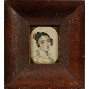 Portrait Miniature of a Young Woman with Green Eyes