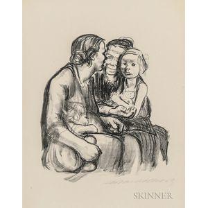 Käthe Kollwitz (German, 1867-1945)      Zwei schwatzende Frauen mit zwei Kindern