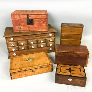 Four Wood Boxes, a Sewing Cabinet, and a Miniature Bureau