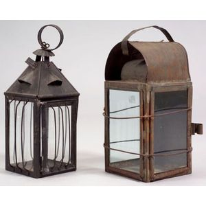 Two Tin and Glass Candle Lanterns