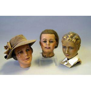 Three Poured Wax Mannequin Heads