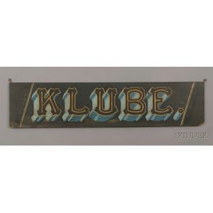 """""""KLUBE"""" Painted Trade Sign"""
